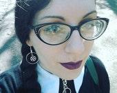 Pentagram Dangle Earrings - Handmade Gothic Goth - Wiccan - One Pair of Earrings
