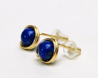 Genuine Lapis Stud Earrings - Handmade Wire Wrapped, Gold Filled or Fine (99%) Silver, Gemstone Earrings