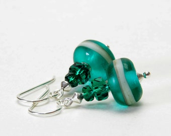 Emerald Green Lampwrok and Crystal Earrings - Sterling Silver Earwires - Handmade Jewelry - May Birthday Gifts