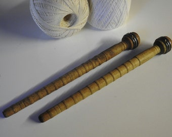 2 Wood Textile Spindles - Vintage Industrial Yarn Wool Thread Spool Craft Collectible Display Rustic Country Barn Farmhouse Country Cottage