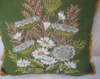 Embroidered pillow, embroidery pillow, green with wild flowers, vintage decorative pillow, country farmhouse decor