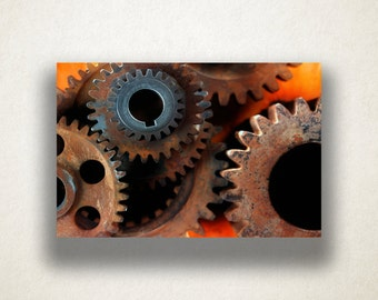 Rusted Gears Canvas Art, Gears Wall Art, Industrial Canvas Print, Close Up  Wall