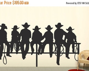 LAST CHANCE SALE - Cowboys On Fence Western Decal - Boys Wall Decal -  Western Wall Decor