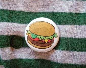"Hamburger 1"" Button or Magnet"