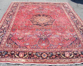 1950s Hand-Knotted, Mashad Persian Rug, Room-Sized! (3302)