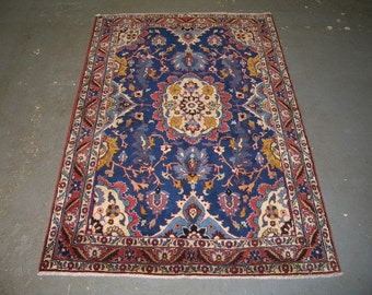 Persian Rug - 1970s Vintage, Hand-Knotted, Veramin Rug (3307)