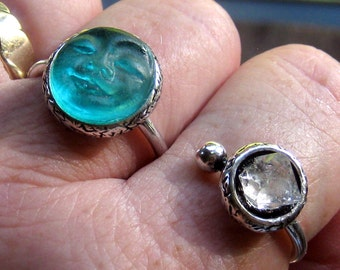 Double Finger Ring, Two Finger Ring, Rose Quartz, Herkimer Diamond,  Bohemian Jewelry, Moon Face