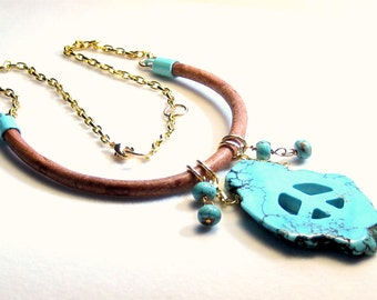Peace - Turquoise Leather Necklace Bohemian Tribal Jewelry