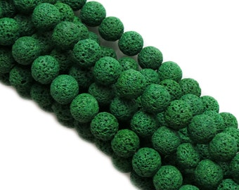 Round Kelly Green Lava Beads, 1 Strand
