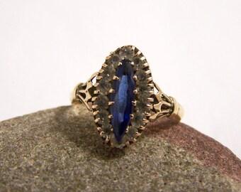 Vintage 9ct Gold Paste Cluster Ring, Edwardian Paste Ring, 9ct Ring, Engagement Ring, Dress Ring, Marquise Ring, Size 7.75, Size P 1/2, 1903