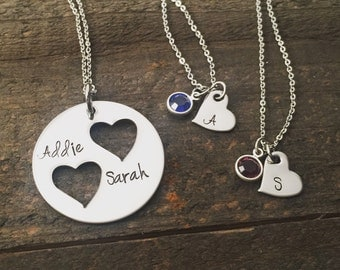 Mother Daughter Necklace Set, Hand stamped Personalized jewelry, Mother necklace, daughter necklace