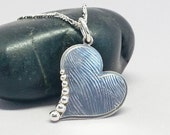 Silver Heart Pendant Necklace, 925 Sterling Love Necklace, Small Textured Metalwork Heart, Lightweight Sideways Heart, Valentine's Day Gift