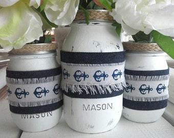 Nautical Centerpiece Painted Mason Jar Vases