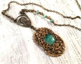Repurposed Peking Glass Necklace - Vintage Rosary Peruvian Opal