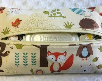 Woodland Animals Soft Diaper Wipes Case, Zipper Wipes Case, Soft Wipes Case, Diaper Bag Accessory, Wipes Holder, Baby Shower Gift, Baby Gift