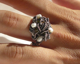 FLOWER of the NIGHT- Ring – Wrapped – 925 - Sterling Silver – Statement Ring - size 8,5