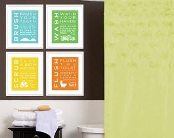 ON SALE Childrens Kids Bathroom Art Print Set of (4) Fine Art Home Decor 8 x 10 Each Print Blue Green Yellow Orange