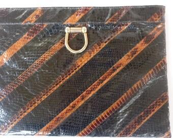 80's Purse Robert Bestien Originals 1980's Clutch Purse Stripe Snakeskin Boho Envelope Bag  Evening Bag With Gold Chain Shoulder Strap Mod