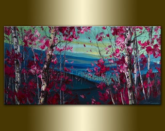 Fine Art Giclee Canvas Print from Original Oil Painting by Willson Lau Landscape Print 20X40 STRETCHED & Ready To Hang