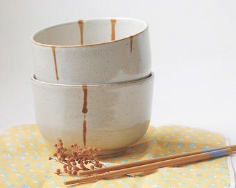 Ceramic noodle bowl - Set of 2 handmade
