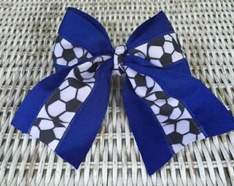 Blue Soccer Girls Hair Bow - Soccer Ponytail Holder