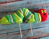"Fondant ""very hungry caterpillar"" inspired cake toppers, fondant caterpilar, caterpillar cake,caterpillar cupcake,caterpillar birthday party"