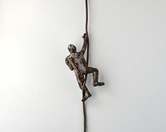 Miniature climbing man sculpture on rope, wire mesh, sports decor, metal wall art, metal sculpture, rock climbing