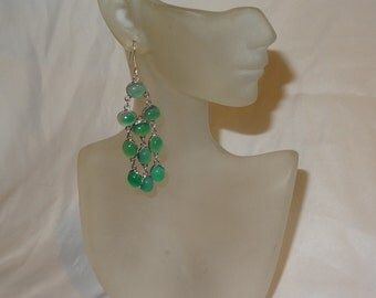 Vintage Sterling Silver and Green Glass Cabochon Dangle Earrings