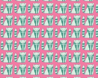 Petite Raccoon Pink by Katy Tanis Fat Quarter Blend Fabrics Woodland Fabric Nursery Fabric - Garden Party Quilt Fabric - Pink and Turquoise