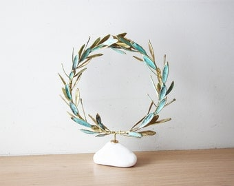 Gold olive wreath, real olive twigs wreath, GrecoRoman style wreath on stone, electroplated olive twigs with brass and copper, Greek wreath