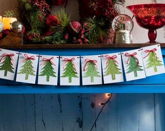 Christmas Banner, Christmas Tree Banner, Holiday Banner, Christmas Garland P009