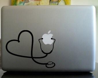 Stethoscope heart nurse RN Macbook Decal sticker / Laptop Decal sticker