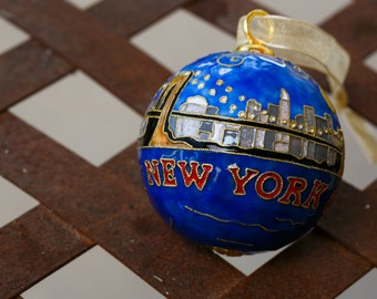 New York City Themed Handcrafted, 24k Gold Plated Cloisonne Ornament by Kitty Keller