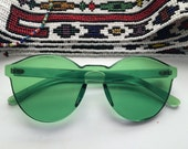 Deadstock Crystal Green Frame Sun Glasses