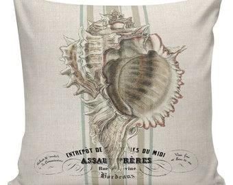 Nautical Pillow, Shell Pillow, Beach Pillow, French, Seashells, Seashell Decor, Throw Pillow Cover, #NA0129, Elliott Heath Designs