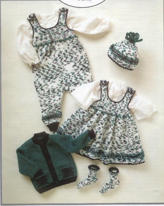 Knitted Pinafore Dress Pattern Free : baby knitting pattern for Baby Jacket Pinafore Dress Romper