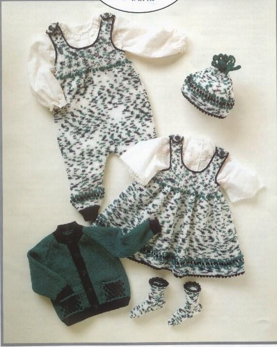 Knitting Pattern Pinafore Dress : baby knitting pattern for Baby Jacket Pinafore Dress Romper