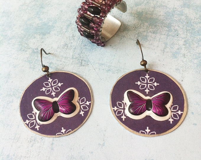 Jewelry set - paper jewellery - butterfly earrings - dangle and drop - clip on earrings - purple beads ring - sale - discount jewelry