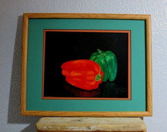 "Framed Print of Green and Red Peppers 7 1/2"" X 10"" (reproduction from Original Oil Painting) with Double Matting"