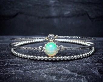 Ethiopian Welo Opal Bangle / Genuine Opal Bracelet / October Birthstone / Real Opal Jewelry / Libra Opal Bracelet / New Mom Jewelry