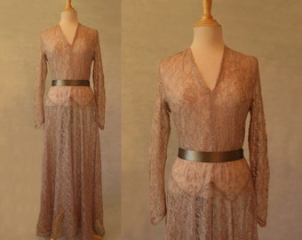 Long Coffee Silk Lace Dress, Wedding Dress - 1930s