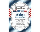 Train Invitation - Navy Blue Stripes, Red Polka Dots, Cute Little Engine Train Personalized Birthday Party Invite - Digital Printable File