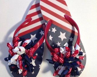 Girls Patriotic American Stars and Stripes Boutique Novelty Flip Flops
