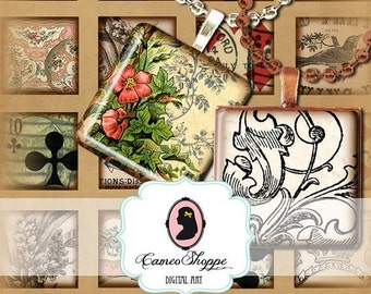 75% OFF SALE EPHEMERA 1 Inch Square Digital Collage Sheet Digital download