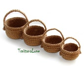 Crochet basket - Set of baskets - Natural materials - Eco-Friendly - for crochet food - Toy Basket - Kids Baskets - Waldorf - Ready to ship