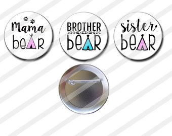 13 pc set Mama Bear Brother Bear Sister Bear Gender Reveal Party Favors 2.25 inch Pinback Buttons Pin Back buttons badges Baby shower pins