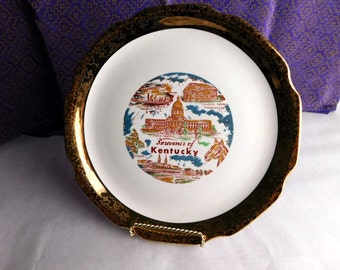 Kentucky - Souvenir Plate -  Circa 1950s Ornate Gold Trim Historic Plate - Shabby Chic