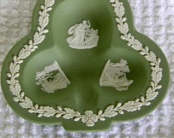 Wedgwood Sage Green Jasperware Figural Clover Dish