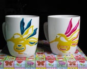 Personalized Hand painted Tea/Coffee Cups, Set of 2 Tea/Coffee cups with yellow Hummingbirds, Hand painted porcelain. Reserved for Vitti