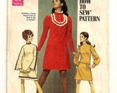 "A Mod A-Line Dress Pattern with Stand Up Collar & Long Straight, Gathered or Bell Sleeves: Junior Size 9/10 Bust 30-1/2"" • Simplicity 8365"